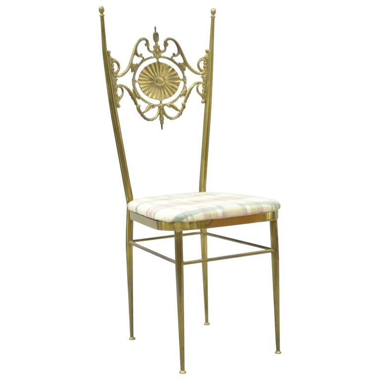 Vintage Italian Drape, Swan, and Nude Maiden Scene Brass Chiavari Accent Chair