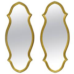 Pair of Vintage Carved Wood Hollywood Regency Textured Gold Narrow Wall Mirrors