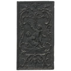 19th Century French Iron Fireplace Plaque with Putti, Vertical Orientation