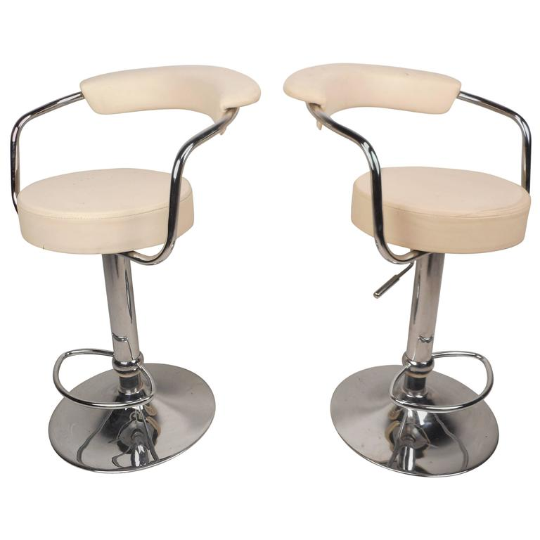 Pair of Mid-Century Modern Italian Adjustable Bar Stools