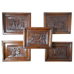 Set of Five Flemish Framed Carved Oak Panels, Tavern Scenes Drinking Merriment