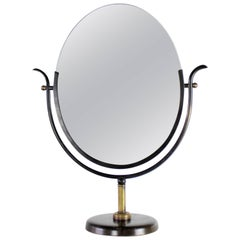 Large Charles Hollis Jones Vanity Mirror in Bronze and Brass, 1970s