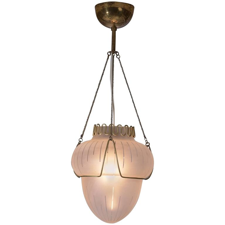 Frosted Glass and Brass Pendant, Sweden, 1940s