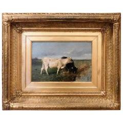 """Oil on Canvas on Board, """"Cows Watering"""" by Willem Maris"""