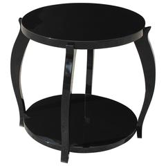 Fine French Art Deco Black Lacquer Two-Tier Accent or Side Table, circa 1930s