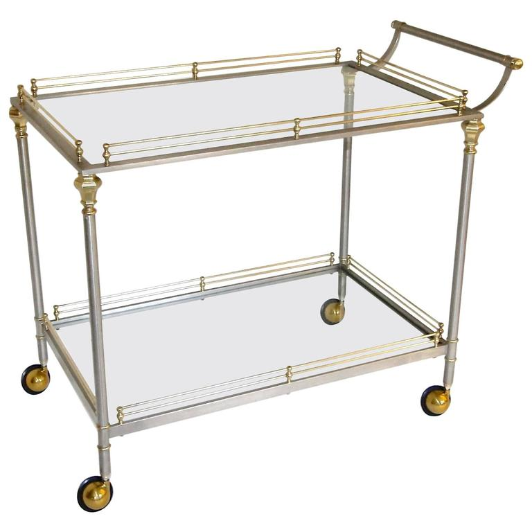 Large Neoclassic Italian Brass Steel Bar Or Tea Cart At