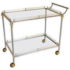 Large Neoclassic Italian Brass Steel Bar or Tea Cart