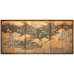 """Japanese Six-Panel Screen, """"Rimpa School Chrysanthemums on Silver and Gold"""""""