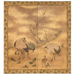 Japanese Two-Panel Screen, Family of Cranes with Young Pine and Plum Blossom