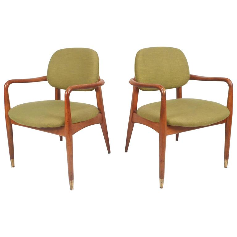 Unique pair of danish mid century modern armchairs for for Mid century modern armchairs