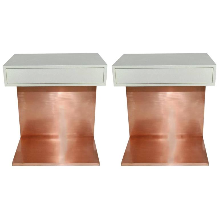 Pair of Shagreen and Copper Side Tables