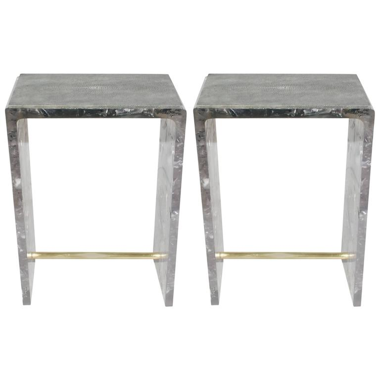 Pair of Shagreen Side Tables 1