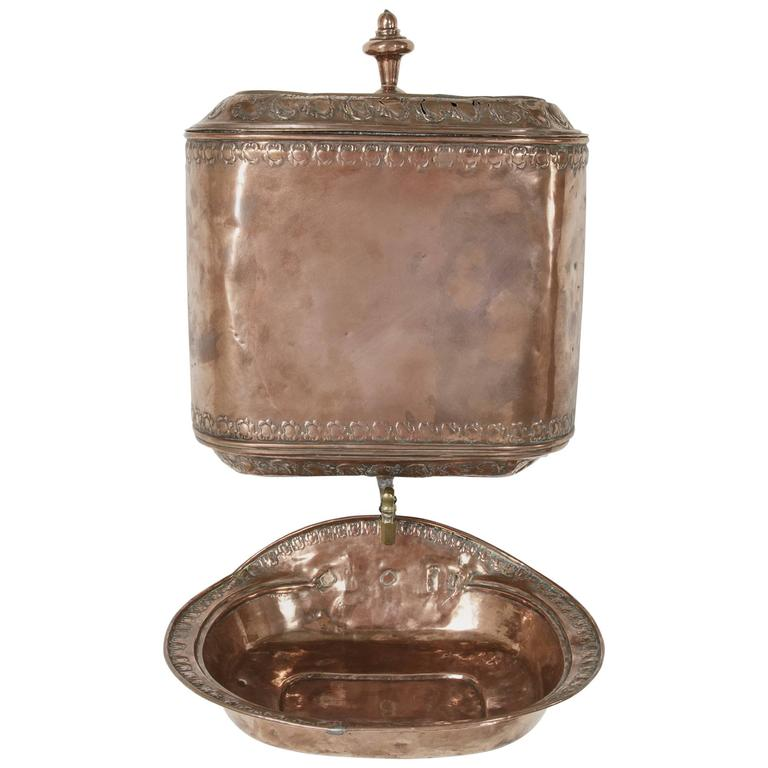 18th century french copper repousse wall fountain lavabo with bronze spigot for sale at 1stdibs. Black Bedroom Furniture Sets. Home Design Ideas