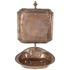 18th Century French Copper Repousse Wall Fountain Lavabo with Bronze Spigot