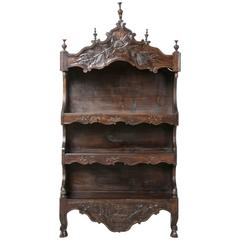 20th Century French Hand-Carved Walnut Louis XV Estagnie, Etagere or Wall Shelf