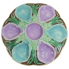 19th English Majolica Turquoise and Pink Oyster Plate