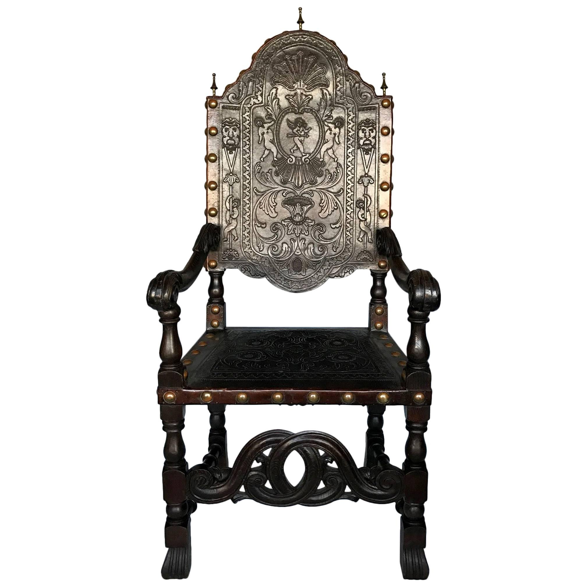 Antique Portuguese Armchair with Embossed Leather