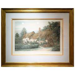 "Original Etching by J. R. Hutchinson, ""Anne Hathaway's Cottage,"" circa 1897"