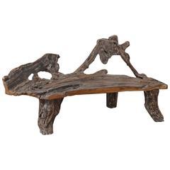 Andrianna Shamaris Single Burnt Organic Teak Wood Bench