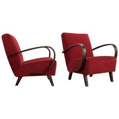 Jindrich Halabala Velvet and Bentwood Modern Armchair, circa 1930