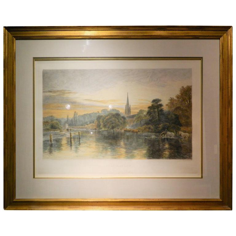 "Original Etching by a. Brunet Debaines, ""Great Marlow"", circa 1886"