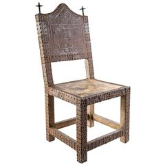 19th Century, Chair from Ghana with Iron Finials and Metal Detailing