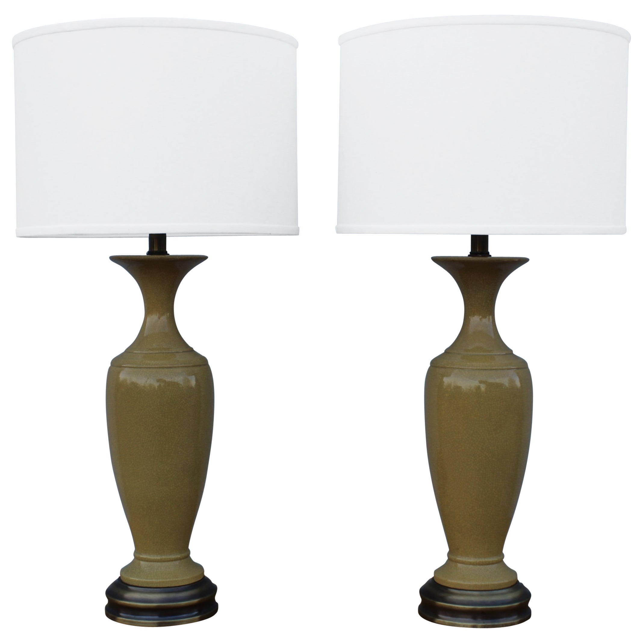 1960s Crackled Ceramic Table Lamps