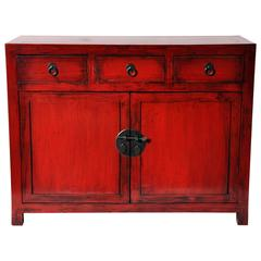 Red Lacquered Chinese Side Chest