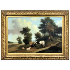 20th Century Cow and Sheep Oil on Canvas Painting Signed, English