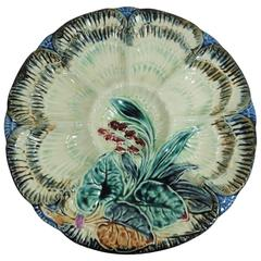 19th Century Belgium Majolica Flowers Oyster Plate, Wasmuel