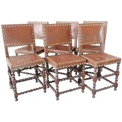 Set of Six English Barley Twist Chairs