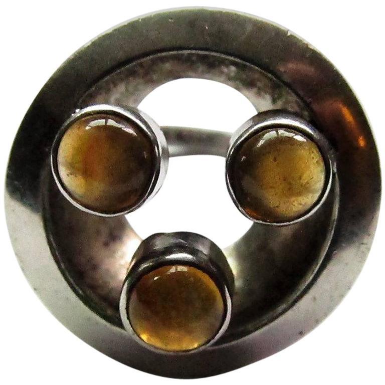 Sterling and Tourmaline Ring by Brazilian Modernist Jeweler Haraldo Burle-Marx 1