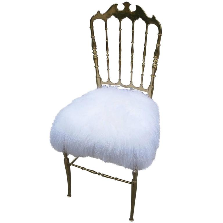 Chiavari Solid Brass Boudoir Chair in Silky Fur 1