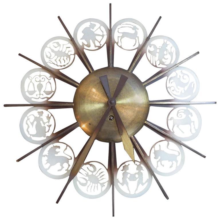 Bronze Mid-Century German Zodiac Themed Wall Clock