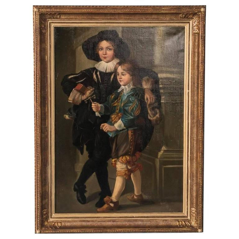 Antique 18th Century German Original Oil Painting Portrait of Two Young Boys
