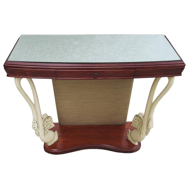 Italian Art Deco Console Table with Carved Painted Swan Legs For Sale