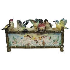 19th Century Majolica Birds Jardiniere with Musicians Puttis Delphin Massier