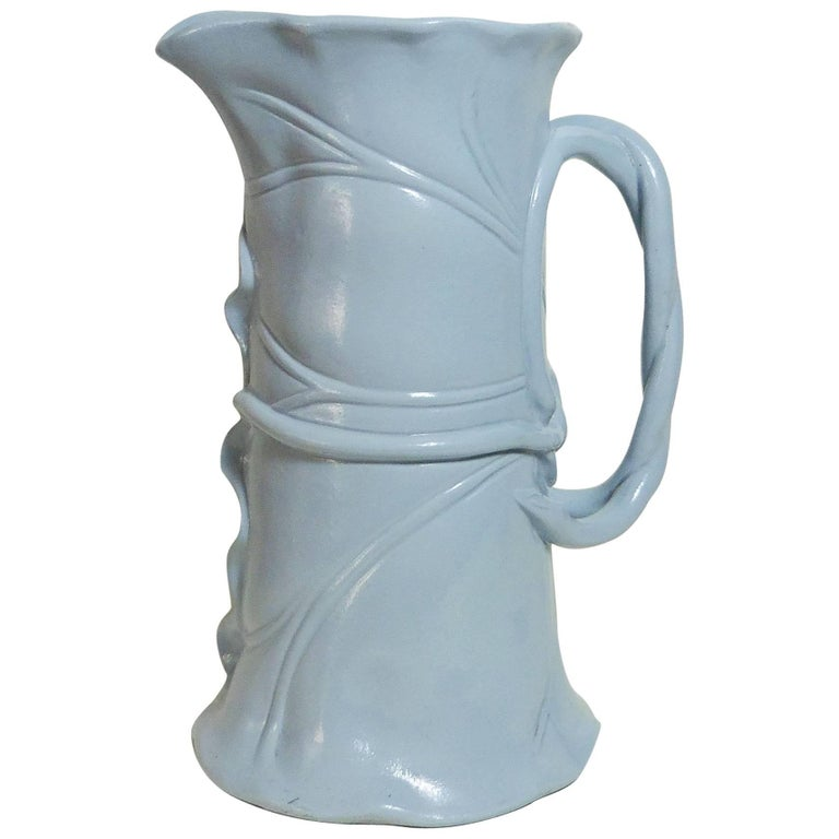Blue Victorian Majolica Pitcher Banana Leaf Minton, circa 1859 For Sale