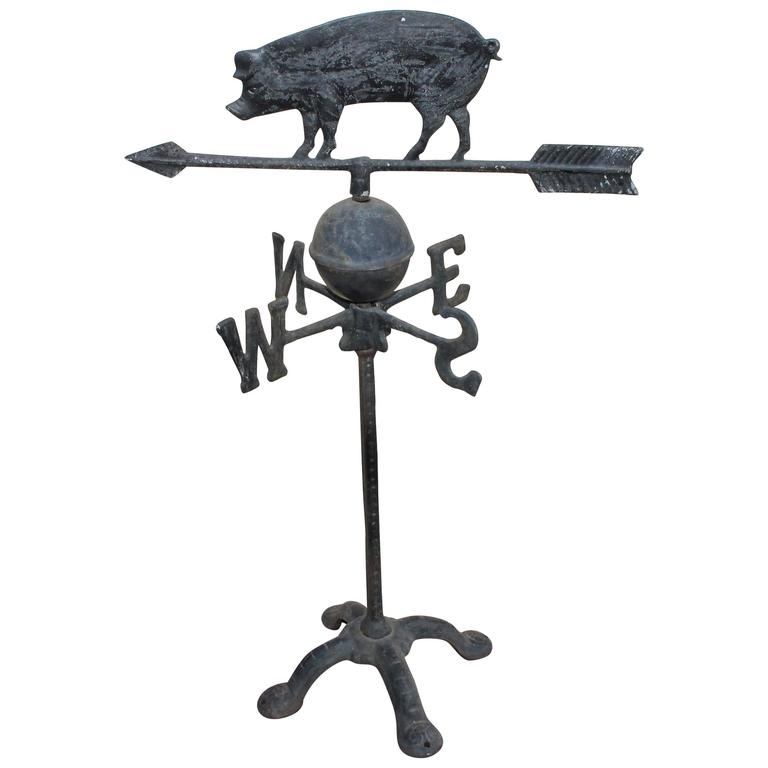 19th Century Cast Iron Pig Weather Vane with Directionals