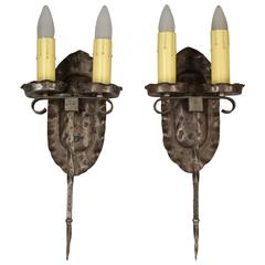 Pair of 1920s Double Sconces