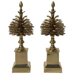 """Pair of Brass """"Pommes de Pin"""" Pinecones Style of Maison Charles"""