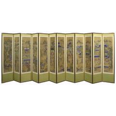 19th Century Korean 12 Panel Silk Hand-Painted Folding Screen
