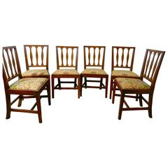 Set of Six Georgian Elm Country Dining Chairs, Liberty Fabric Upholstery