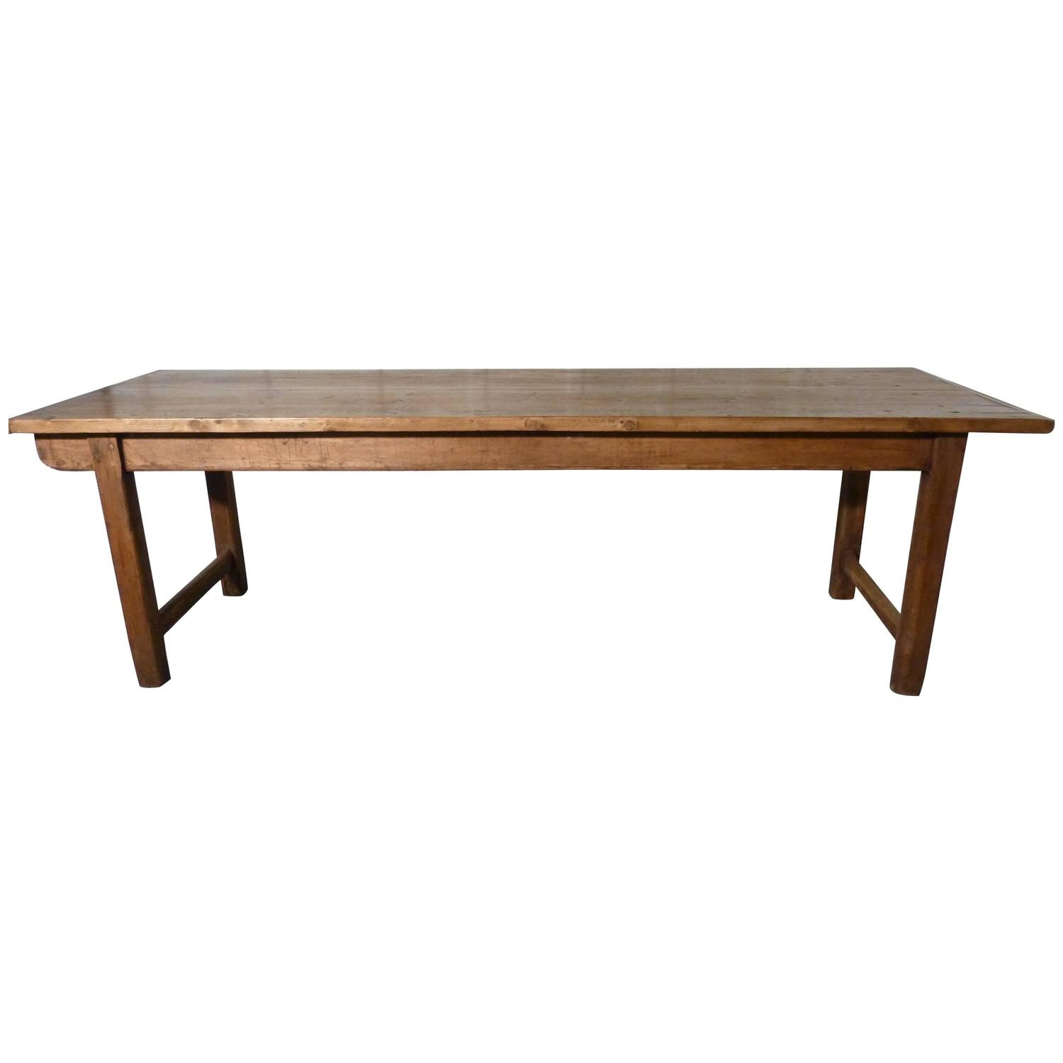 19th Century French Rustic Pine Table Cleated 2 Plank