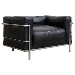 Le Corbusier, Very Early LC Three by Cassina in Chrome in Black Patin Leather