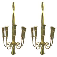 Pair of Large Bronze Sconces Attributed to Riccardo Scarpa, circa 1960