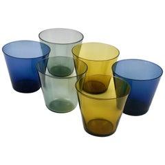 Six Kaj Franck Kartio Mid-Century Drinking Glasses by Nuutajarvi Nottsjo Finland
