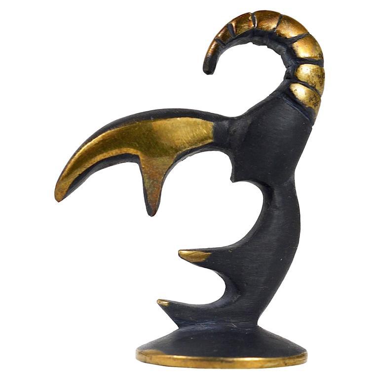 Walter Bosse Cancer Zodiac Sign Brass Figurine by Hertha Baller, Austria, 1950s