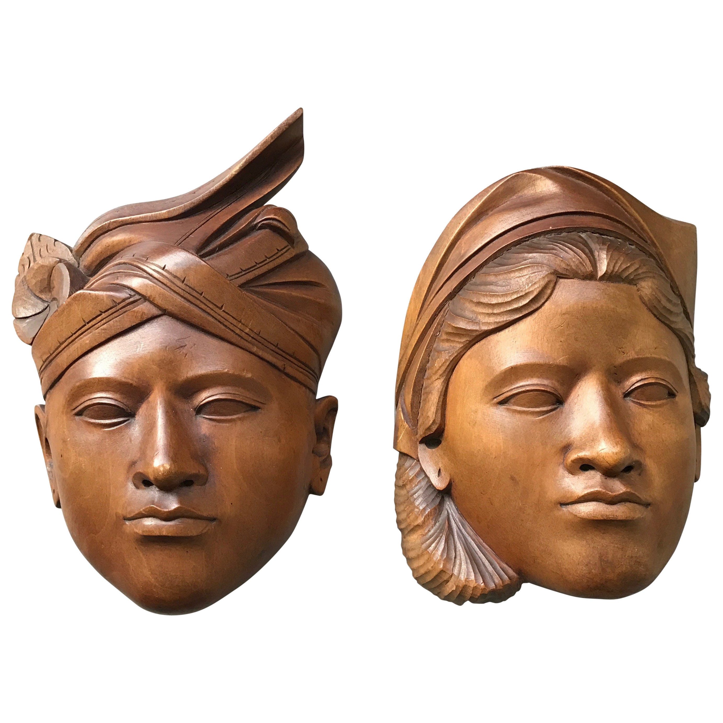 Mid 20th Century Pair Of Balinese Hand Carved Wooden Art Wall Masks Bridal Masks