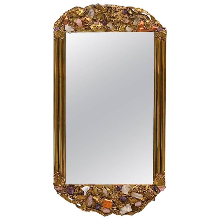 Custom made brass mirror encrusted with semi precious for Custom made mirrors